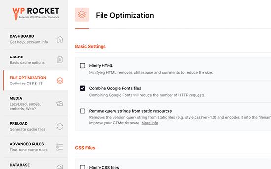WP Roketindeki dosyaları küçültme