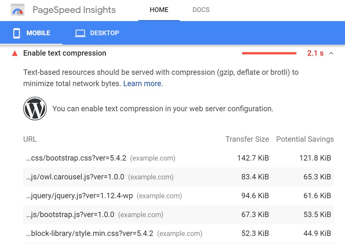 """Google PageSpeed Insights'ta """"Metin sıkıştırmayı etkinleştir"""" uyarısı"""