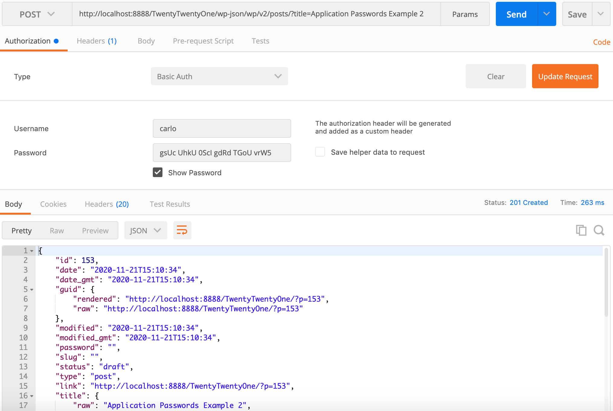 Postman'da REST API'ye kimliği doğrulanmış bir çağrı