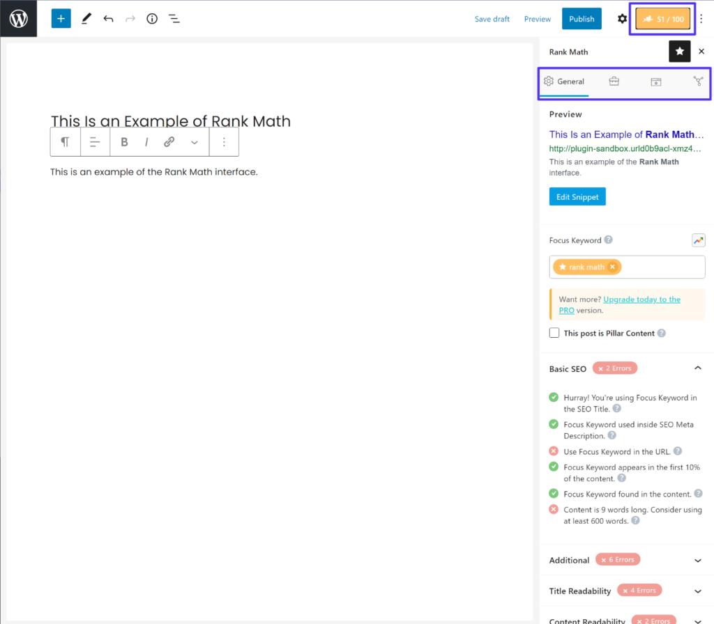 Blok düzenleyicideki Rank Math arayüzü