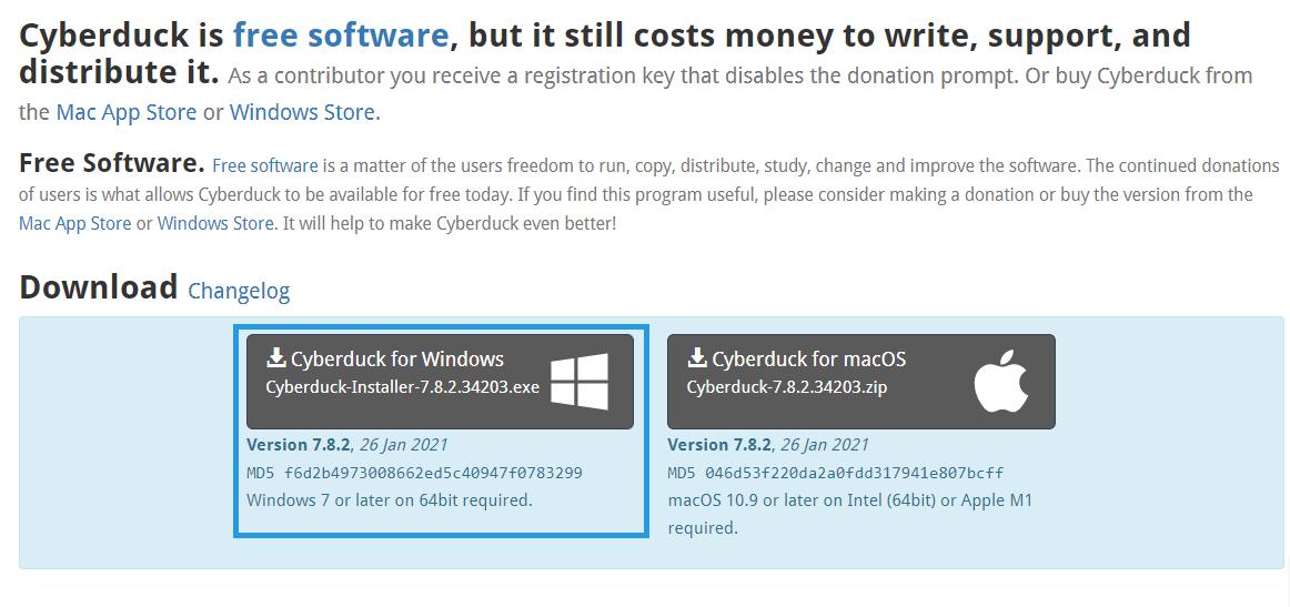 CyberDuck indirme sayfası.
