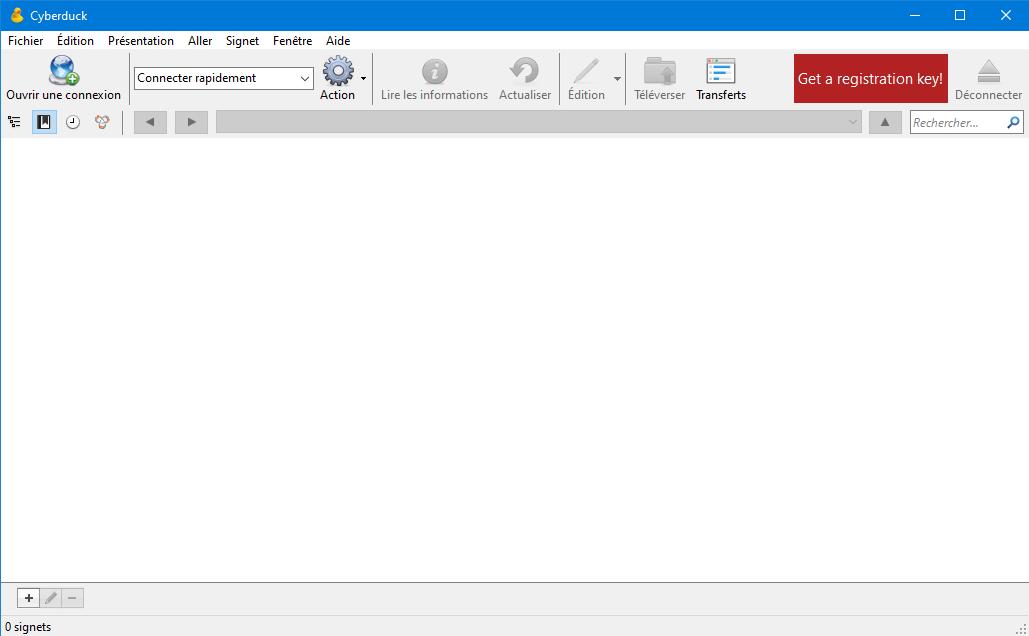 Cyberduck ana ekranı.