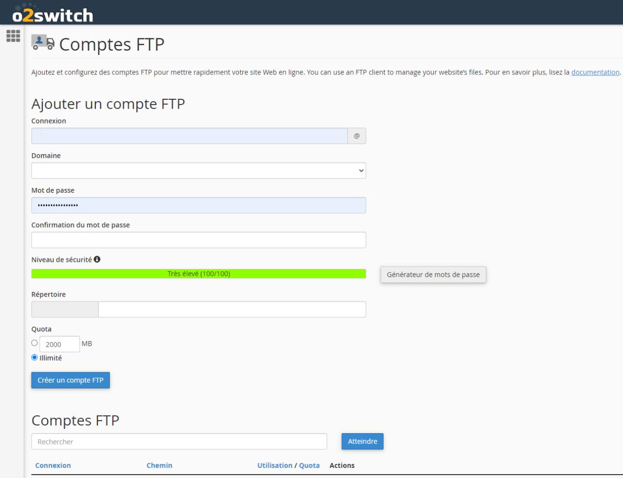Bir FTP hesabının oluşturulması.