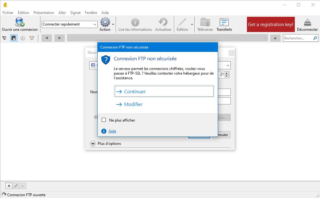 Cyberduck, varsa otomatik olarak FTPS sunar.