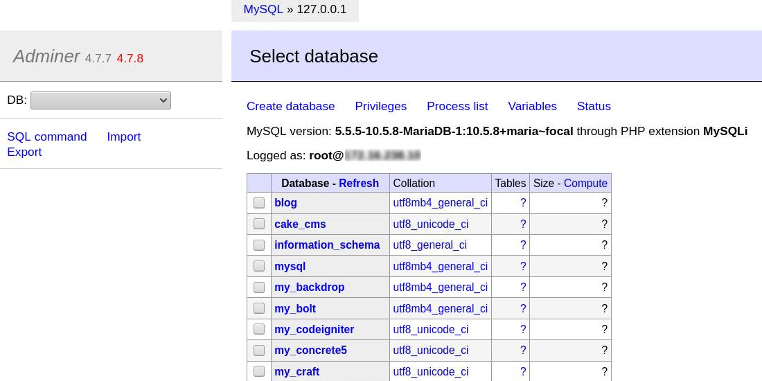 Yönetici, bir tane belirtmezseniz tüm veritabanlarını listeler