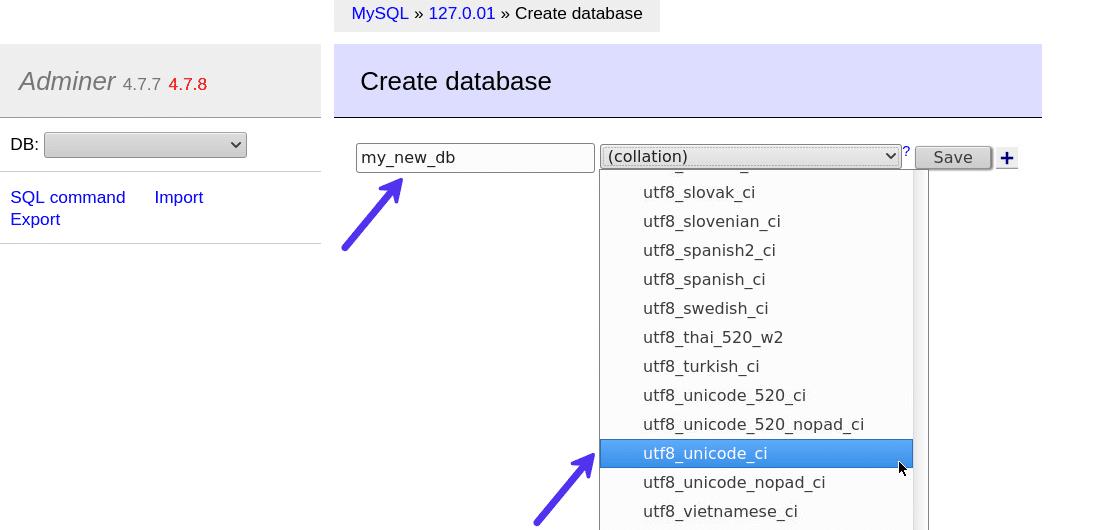 Bir veritabanı oluşturmak için veritabanı adını ve harmanlama türünü ayarlayın
