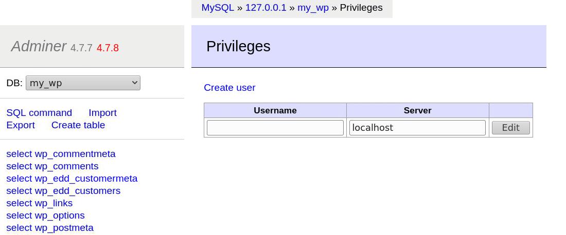 Adminer'da bir veritabanı kullanıcısı oluşturma