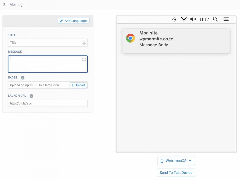 OneSignal sitesinde bir bildirimin kişiselleştirilmesi